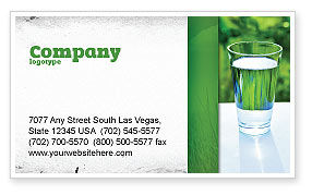 Food & Beverage: Glass of Water Business Card Template #05815