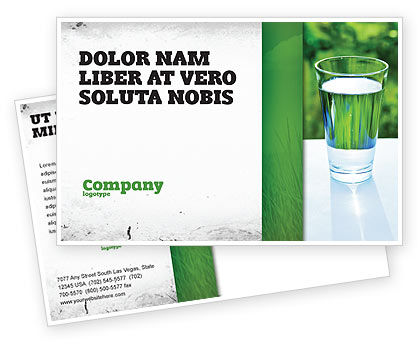 Glass of Water Postcard Template, 05815, Food & Beverage — PoweredTemplate.com