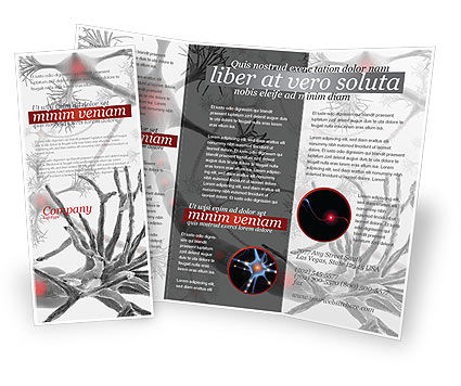 Neural Nodes Brochure Template, 05826, Medical — PoweredTemplate.com