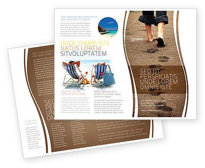 Sand Footprints Brochure Template, 05834, Religious/Spiritual — PoweredTemplate.com