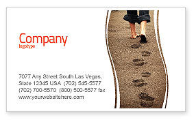 Sand Footprints Business Card Template