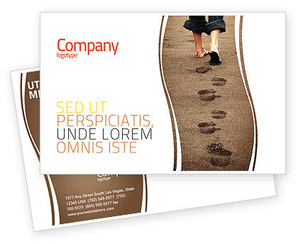 Sand Footprints Postcard Template, 05834, Religious/Spiritual — PoweredTemplate.com