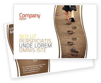 Religious/Spiritual: Sand Footprints Postcard Template #05834