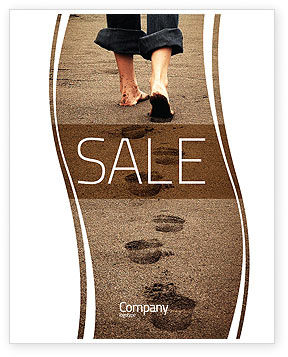 Religious/Spiritual: Sand Footprints Sale Poster Template #05834