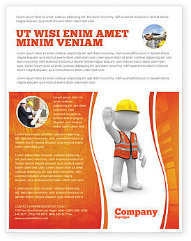 Symbolic Figure Of A Builder Flyer Template