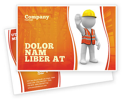 Symbolic Figure Of A Builder Postcard Template, 05877, Construction — PoweredTemplate.com