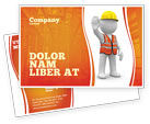 Construction: Symbolic Figure Of A Builder Postcard Template #05877