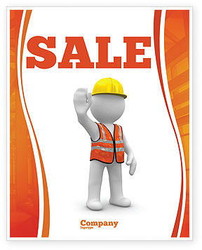 Symbolic Figure Of A Builder Sale Poster Template, 05877, Construction — PoweredTemplate.com