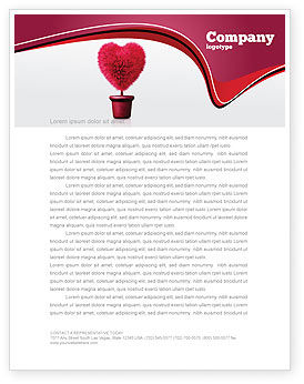 Fuchsia Heart Letterhead Template, 05917, Careers/Industry — PoweredTemplate.com