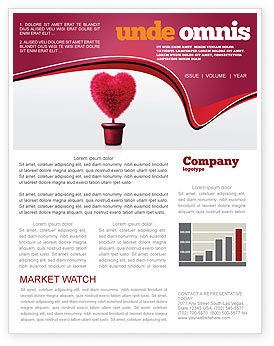 Fuchsia Heart Newsletter Template, 05917, Careers/Industry — PoweredTemplate.com