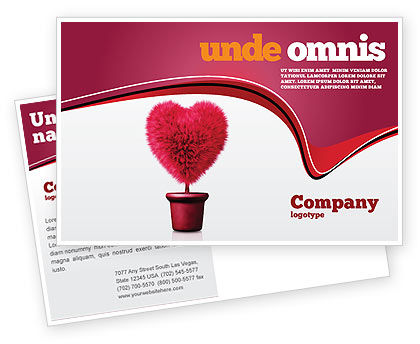 Fuchsia Heart Postcard Template, 05917, Careers/Industry — PoweredTemplate.com