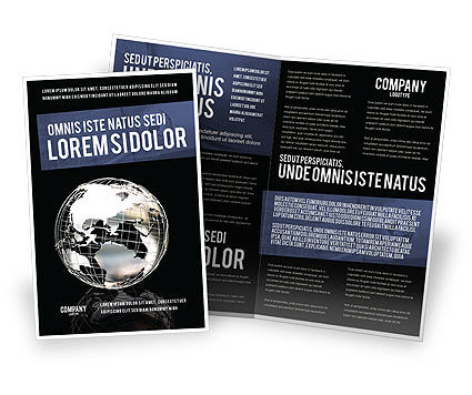 Silver Globe Brochure Template, 05921, Global — PoweredTemplate.com