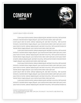 Global: Silver Globe Letterhead Template #05921