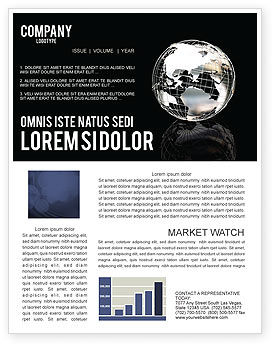 Silver Globe Newsletter Template, 05921, Global — PoweredTemplate.com