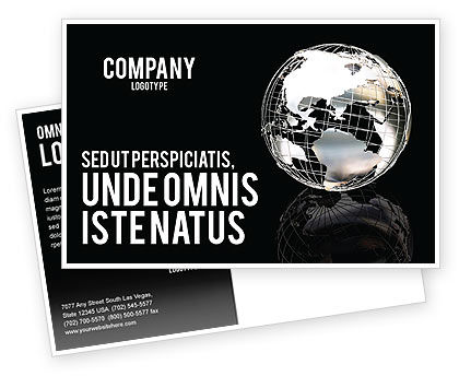 Global: Silver Globe Postcard Template #05921