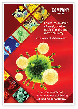 Green Virus On A Red Background Ad Template, 05936, Technology, Science & Computers — PoweredTemplate.com