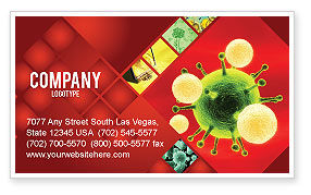 Technology, Science & Computers: Green Virus On A Red Background Business Card Template #05936