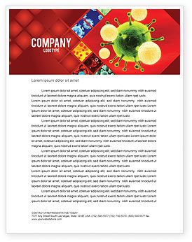 Green Virus On A Red Background Letterhead Template, 05936, Technology, Science & Computers — PoweredTemplate.com