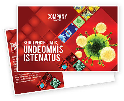 Technology, Science & Computers: Green Virus On A Red Background Postcard Template #05936