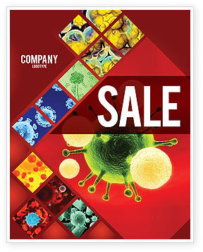 Technology, Science & Computers: Green Virus On A Red Background Sale Poster Template #05936