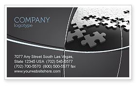 Consulting: Silver Puzzle Business Card Template #05940