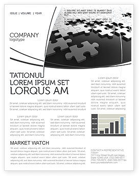 Silver Puzzle Newsletter Template, 05940, Consulting — PoweredTemplate.com