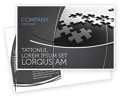 Silver Puzzle Postcard Template, 05940, Consulting — PoweredTemplate.com