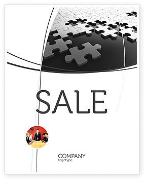 Silver Puzzle Sale Poster Template, 05940, Consulting — PoweredTemplate.com
