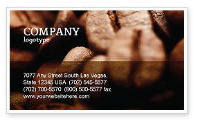 Coffee Beans In Brown Color Business Card Template, 05941, Food & Beverage — PoweredTemplate.com