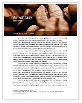 Food & Beverage: Coffee Beans In Brown Color Letterhead Template #05941