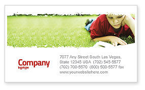 Reading On Summer Vacations Business Card Template, 05977, Education & Training — PoweredTemplate.com