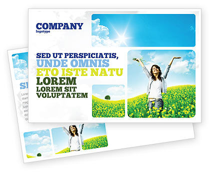 Sunshine Girl Postcard Template, 05989, Abstract/Textures — PoweredTemplate.com