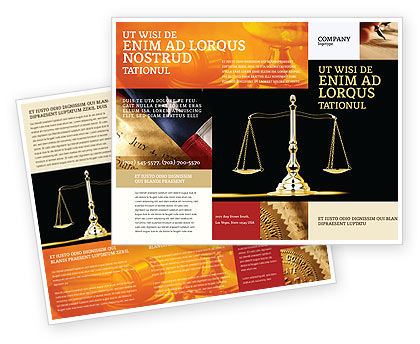 Justice symbol brochure template design and layout for Legal brochure template