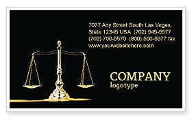 Legal: Justice Symbol Business Card Template #05997