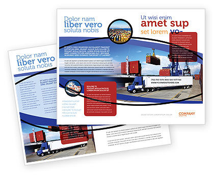 Cars/Transportation: Modèle de Brochure de port de mer #06007