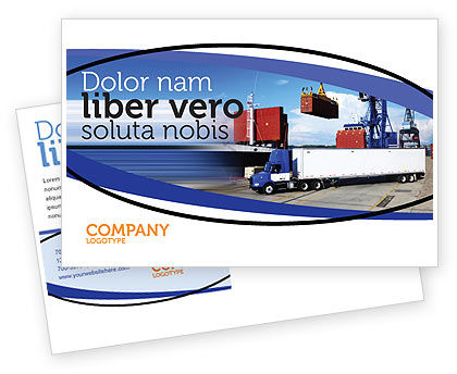 Cars/Transportation: Seaport Postcard Template #06007