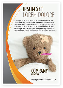 Wounded Teddy Bear Ad Template, 06030, Medical — PoweredTemplate.com