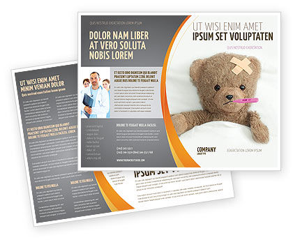 wounded teddy bear brochure template