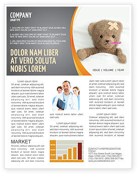Wounded Teddy Bear Newsletter Template, 06030, Medical — PoweredTemplate.com