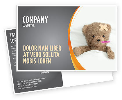 Medical: Wounded Teddy Bear Postcard Template #06030