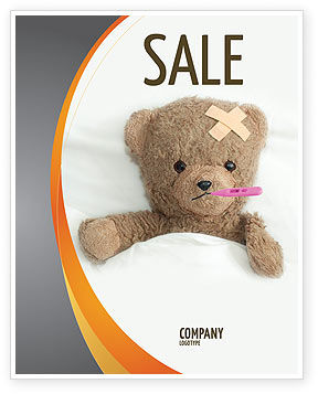 Wounded Teddy Bear Sale Poster Template, 06030, Medical — PoweredTemplate.com