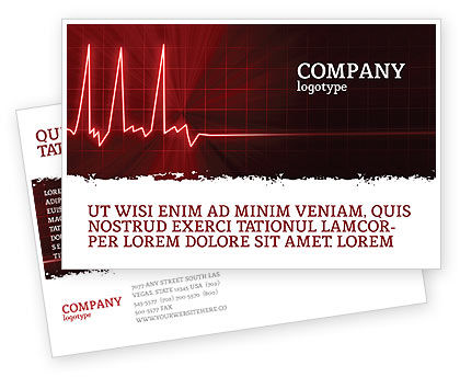 Medical: Heart Rhythm Postcard Template #06036