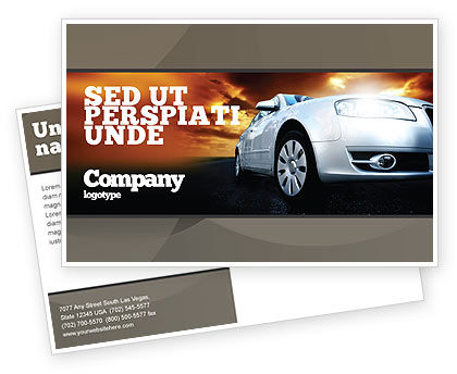 Cars/Transportation: Open Road Postcard Template #06070