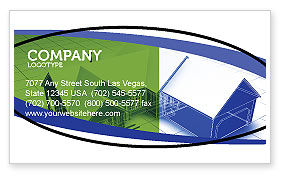 Construction: House Plan Business Card Template #06085
