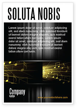 Music Stave Ad Template, 06089, Art & Entertainment — PoweredTemplate.com