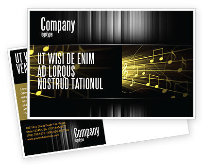 Art & Entertainment: Music Stave Postcard Template #06089