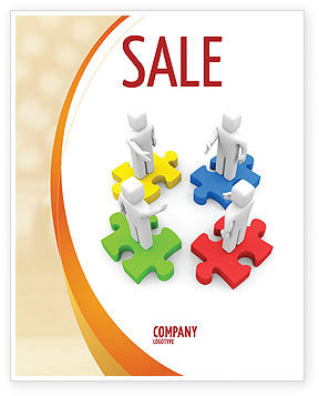 Working Relationship Sale Poster Template, 06096, Business Concepts — PoweredTemplate.com