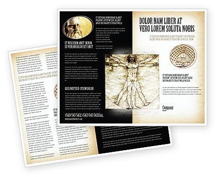 Vitruvian Man By Leonardo da Vinci Brochure Template, 06107, Education & Training — PoweredTemplate.com