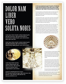 Vitruvian Man By Leonardo da Vinci Flyer Template, 06107, Education & Training — PoweredTemplate.com
