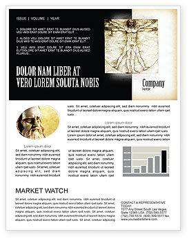 Education & Training: Vitruvian Man By Leonardo da Vinci Newsletter Template #06107